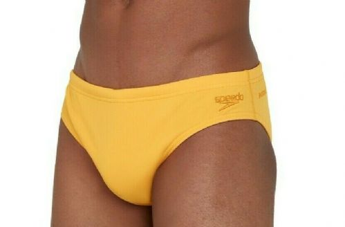 SPEEDO MENS SWIMMING BRIEFS.NEW 7cm YELLOW ENDURANCE+ SWIM TRUNKS SWIMMERS S20 1
